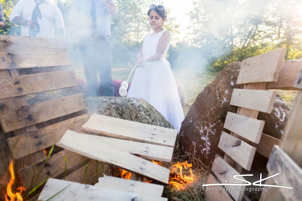 bridesmaid firepit marshmallows