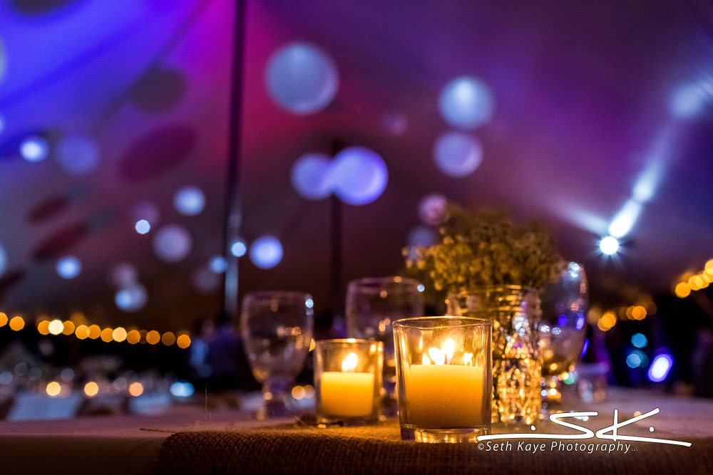 uplighting tented wedding