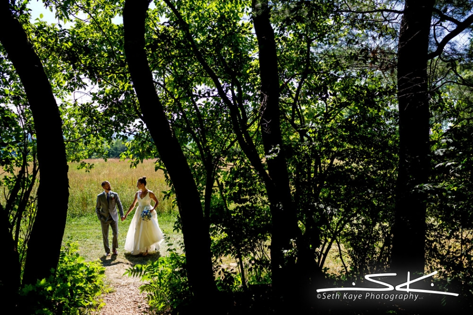 bride and groom wedding portrait with trees