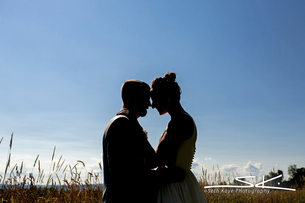 bride and groom outdoor silhouette portrait in a field