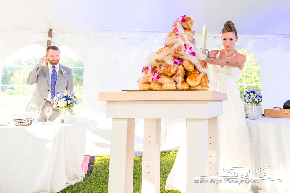 cutting croquembouche with a sword