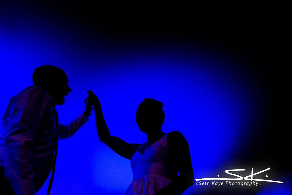bride and groom uplighting silhouette